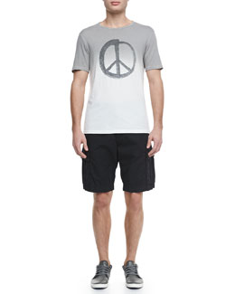 John Varvatos Star USA Dip-Dyed Peace-Sign Tee & Double-Needle Linen Cargo Shorts