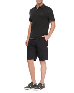 John Varvatos Star USA Short Sleeve Peace Logo Polo Shirt & Double-Needle Linen Cargo Shorts