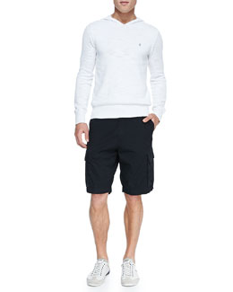 John Varvatos Star USA Pullover Hoodie Sweater & Double-Needle Linen Cargo Shorts