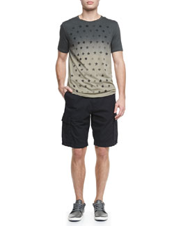 John Varvatos Star USA Dip-Dyed Star-Print Tee & Double-Needle Linen Cargo Shorts