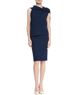 Roland Mouret Eugene Drape-Front Open-Back Top & High-Waist Wool Crepe Pencil Skirt