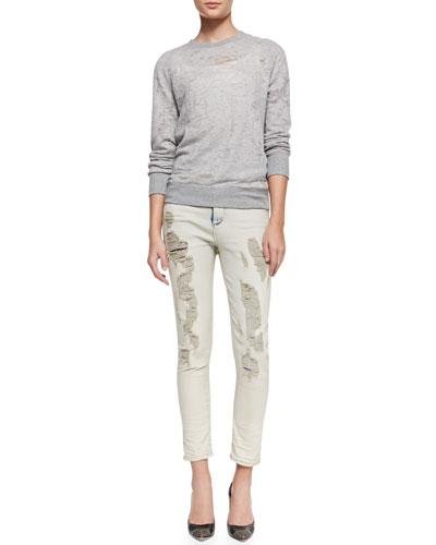 IRO Nona Distressed Knit Tee & Terry Rip-Repair Slim Jeans