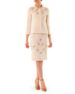 Dolce & Gabbana 3/4-Sleeve Snap-Front Lace-Applique Jacket & Round-Neck Sheath Dress