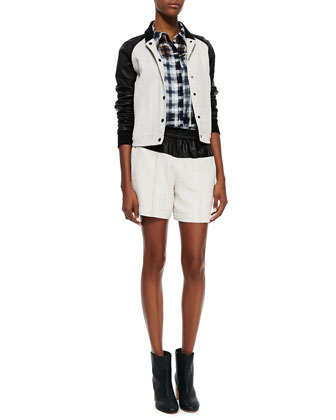 Sons Bomber Jacket, Kelly Check Top & Cliffe Leather-Top Shorts