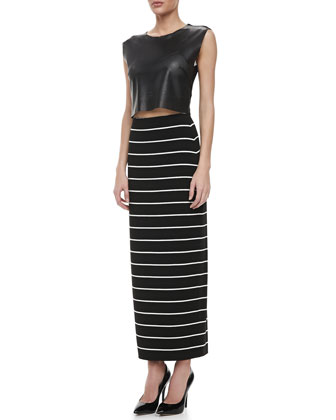 Kwaito Perforated Faux-Leather Top & Masakela Fitted Striped Skirt