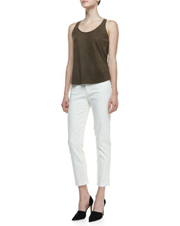 Theory Isaac Perforated Lambskin Tank Top & Jordin Straight Jeans