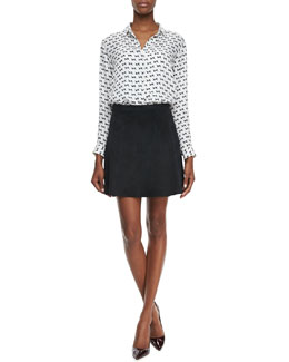 Theory Aquilina B Arrow-Print Blouse & Lonati Perforated Leather Skirt