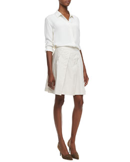 Theory Aquilina B Silk Blouse & Sarise Pleated A-Line Skirt