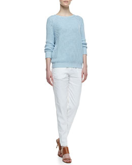 Theory Rhodri Drawstring Slim Pants & Brombly Ribbed Knit Sweater