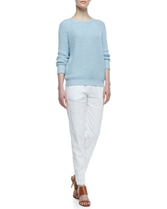 Rhodri Drawstring Slim Pants & Brombly Ribbed Knit Sweater