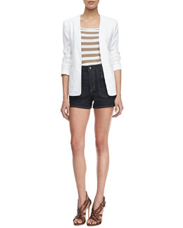 Theory Isita Open-Front Blazer, Trissa Striped Knit Tank & Brendan Raw Denim Shorts