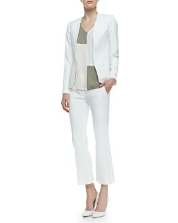 Theory  Isita Open-Front Blazer, Talda C Colorblock Blouse & Benetta Ankle-Cropped Pants