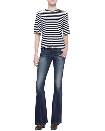 Carey Striped Half-Sleeve Tee & Flared Bell-Bottom Jeans