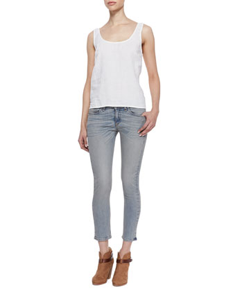 Simple Sleeveless Linen Tank & The Capri Skinny Denim Pants