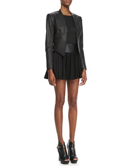 Alice + Olivia Mabel Cropped Leather Jacket, Tran Piped-Trim Tee & Leather-Waist Pleated Skirt