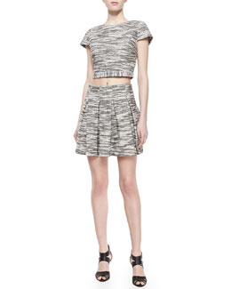 Alice + Olivia Elenore Short-Sleeve Tweed Crop Top & Davis Pleated Tweed Skirt