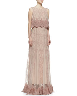 Alice + Olivia Ardith Embroidered Crop Top & Louie Lace/Chiffon Maxi Skirt