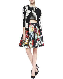 Alice + Olivia Cherrie Embroidered Lace Cardigan, Connely Striped Crop Top & Pia Floral-Print Pleated Full Skirt