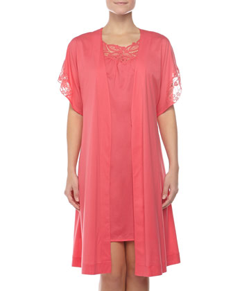 Filipa Embroidered Sleeveless Gown & Embroidered-Sleeve Robe