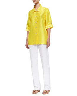 Caroline Rose Shantung Button-Front Tab Shirt & Shantung Straight-Leg Pants