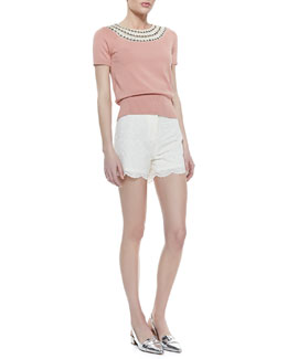 Tory Burch Daisy Embellished-Neck Sweater & Bruna Lacy Shorts