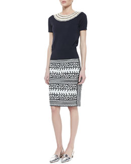 Tory Burch Daisy Embellished-Neck Sweater & Laurie Printed Pencil Skirt