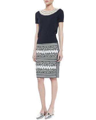 Daisy Embellished-Neck Sweater & Laurie Printed Pencil Skirt
