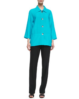 Caroline Rose Cabo Crinkle Big Shirt & Straight-Leg Pants