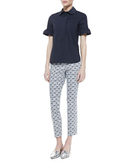 Tory Burch Britta Bell-Sleeve Top and Alexa Printed Cropped Skinny Jeans