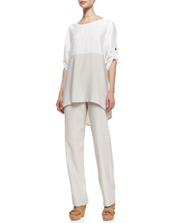 Caroline Rose Colorblock Tab-Sleeve Tunic and Cabo Straight-Leg Pants