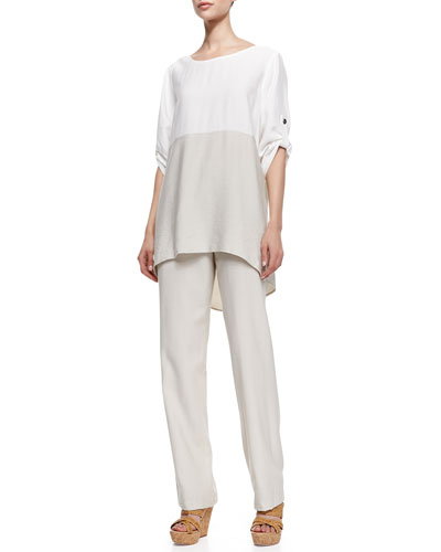 Caroline Rose Colorblock Tab-Sleeve Tunic and Cabo Straight-Leg Pants, Petite