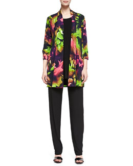 Caroline Rose Tropical Flower Printed Cardigan, Long Knit Tunic/Tank & Stretch-Knit Slim Pants