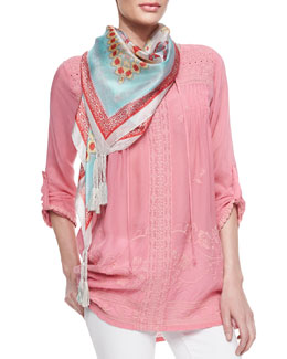 Johnny Was Collection Lacy Yoke Tie-Neck Top & Alamo Mint Printed Silk Scarf