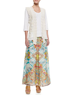 Johnny Was Vintage Crochet Collage Vest, 3/4-Sleeve V-Neck Tee & Dandridge Printed Long Skirt, Women's