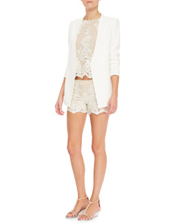 Alice + Olivia Slim-Cut Long Blazer, Amal Boxy Lace Tank & Scalloped Lace Shorts