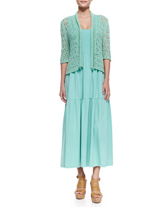 Cropped Tape-Yarn Cardigan & Tiered Long Tank Dress, Petite