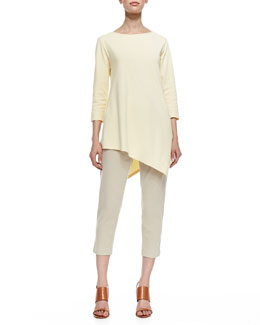 Joan Vass 3/4-Sleeve Asymmetric Tunic & Ponte Knit Capri Pants
