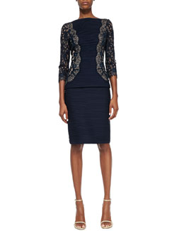 Tadashi 3/4-Sleeve Lace Top & Pintucked Pencil Skirt