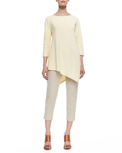 Joan Vass 3/4-Sleeve Asymmetric Tunic & Ponte Knit Capri Pants, Petite