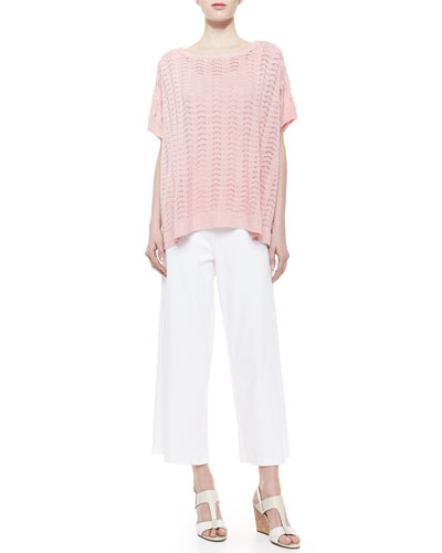 Joan Vass Short-Sleeve Scallop-Stitched Sweater, Scoop-Neck Cotton Tank & Wide-Leg Pants, Women's