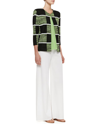 Misook Colorblock 3/4-Sleeve Jacket, Scoop-Neck Tank & Fit/Knit Palazzo Pants, Petite