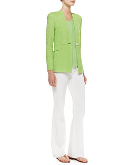 Misook Textured One-Button Jacket, Scoop-Neck Tank & Boot-Cut Knit Pants, Petite