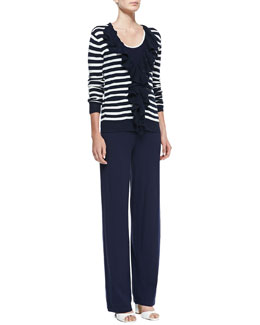 Neiman Marcus Striped Ruffle-Front Cardigan, Scoop-Neck Sleeveless Tank & Wide-Leg Pull-On Pants