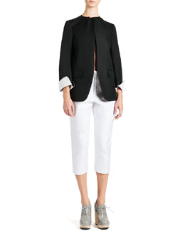 Jil Sander Tulip-Bottom Jacket, Canvas Bandeau Top & Cropped Satin Pants