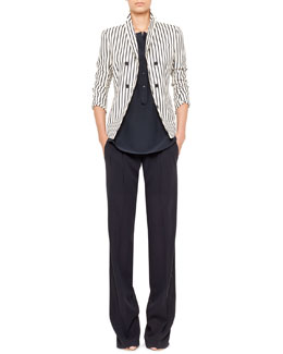 Akris punto Striped Double-Breasted Blazer, Sleeveless Popover Blouse & Miranda Tropical Wool Pants