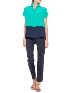 Akris punto Cap-Sleeve Colorblock Top and Franca Cropped Techno Pants