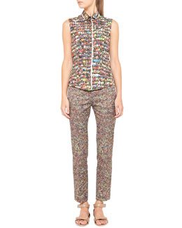 Akris punto Sleeveless Stadium-Print Top and Franca Cropped Stadium-Print Pants