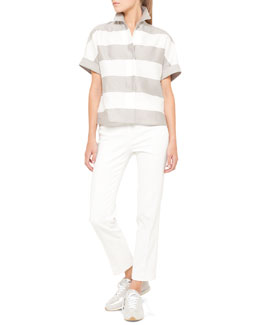 Akris punto Short-Sleeve Awning Stripe Blouse and France Side-Zip Ankle Pants