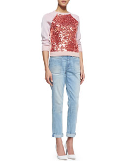 MARC by Marc Jacobs Gretta Sequin-Front Sweater & Addy Relaxed Boyfriend Jeans