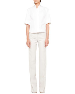 Akris punto Cotton Plisse-Back Blouse & Mikka Wide-Leg Pants